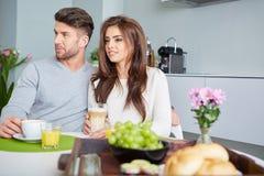 Happy Couple Enjoying Breakfast Stock Photo