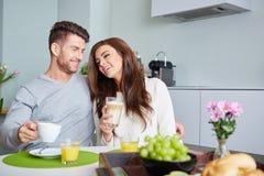Happy Couple Enjoying Breakfast Royalty Free Stock Images