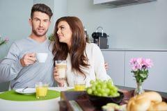 Happy Couple Enjoying Breakfast Stock Photos