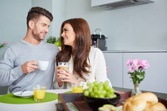 Happy Couple Enjoying Breakfast Stock Photography