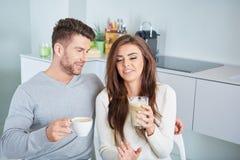 Happy Couple Enjoying Breakfast Stock Images