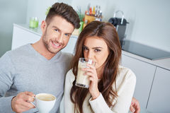 Happy Couple Enjoying Breakfast Stock Images