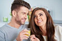 Happy Couple Enjoying Breakfast Royalty Free Stock Photography