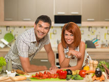 Happy couple enjoying cooking Royalty Free Stock Photo