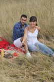 Happy couple enjoying countryside picnic Royalty Free Stock Photos