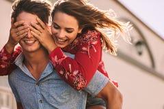 Happy Couple Enjoying Outdoors Royalty Free Stock Image
