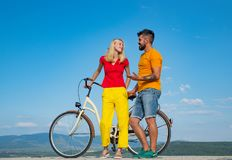 Happy couple enjoying summer vacation. Trend. Couple is young and in love. During summer holidays vacation. Happy. Smiling young hippie couple outdoors stock photography