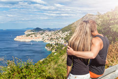 Happy couple enoying the view of Dubrovnik on their travels Royalty Free Stock Image