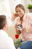 Happy couple expecting baby Stock Images