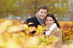 Happy couple in fall Stock Photo
