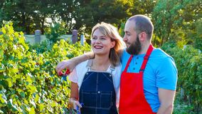 Happy couple of farmers talking and dreaming at vineyard royalty free stock photo
