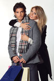Happy couple of fashion models stock images