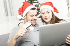 Happy couple find perfect present gifts Royalty Free Stock Images