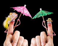 Happy couple of finger puppets royalty free stock photos
