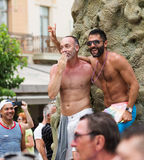 Happy couple at gay  parade in Sitges. Royalty Free Stock Photography