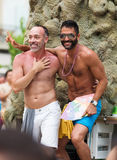 Happy couple at gay pride parade in Sitges Royalty Free Stock Photography