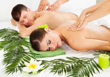Happy Couple Getting Spa Treatment Royalty Free Stock Photos