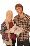 Happy couple with gift Stock Photos