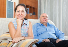 Happy couple grandparents in the house Royalty Free Stock Photography