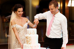 Happy couple groom and beautiful bride cutting delicious wedding Royalty Free Stock Image