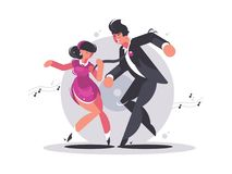Happy couple of guy and girl dancing. Musical active dance. Vector illustration Stock Images