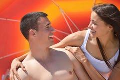 Happy couple have fun on the beach Stock Photo