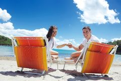 Happy couple have fun on the beach Royalty Free Stock Image