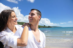 Happy couple have fun on the beach Royalty Free Stock Photo
