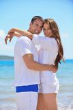 Happy couple have fun on the beach Royalty Free Stock Photography