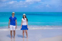 Happy couple have fun during Caribbean beach Royalty Free Stock Images