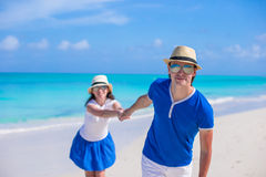 Happy couple have fun during Caribbean beach Stock Photography