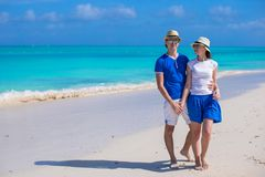 Happy couple have fun during Caribbean beach Stock Images