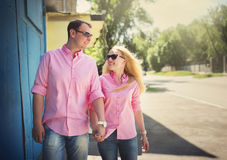 Happy couple have fun in the city Royalty Free Stock Photo