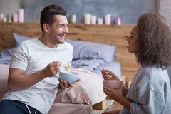 Happy couple having breakfast together Royalty Free Stock Photography