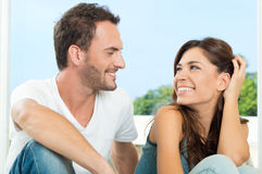 Happy Couple Having Chat Royalty Free Stock Photography