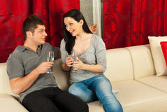 Happy couple having conversation Royalty Free Stock Images