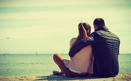 Happy couple having date on beach Royalty Free Stock Photos