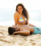 Happy  couple having  date at sandy beach Stock Photography