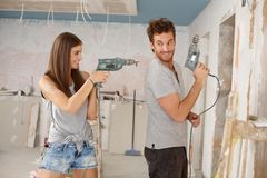 Free Happy Couple Having Fun At Renovation Stock Image - 29117031