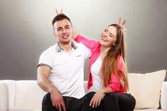 Happy couple having fun and fooling around. Stock Photos