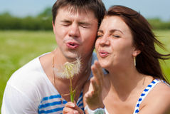 Happy couple having fun outdoors Royalty Free Stock Image