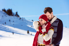 Happy Couple Having Fun on snow mountain. Stock Photography