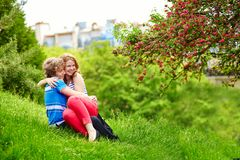 Happy couple having fun together in park Royalty Free Stock Image