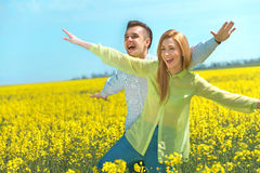 Happy couple having fun on vacation Stock Images