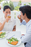 Happy couple having a meal together with white wine Royalty Free Stock Photos