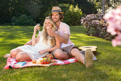 Happy couple having a picnic and embracing Stock Photos