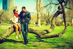 Happy couple having romantic date in park Stock Photography