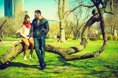 Happy couple having romantic date in park Royalty Free Stock Photography