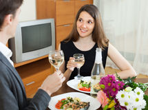 Happy couple having romantic dinner Royalty Free Stock Photos