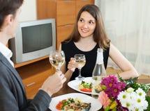 Happy couple having romantic dinner Royalty Free Stock Photos